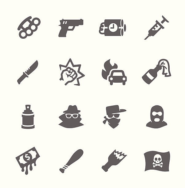 Crime Icons Simple set of crime related vector icons for your design. weapon stock illustrations