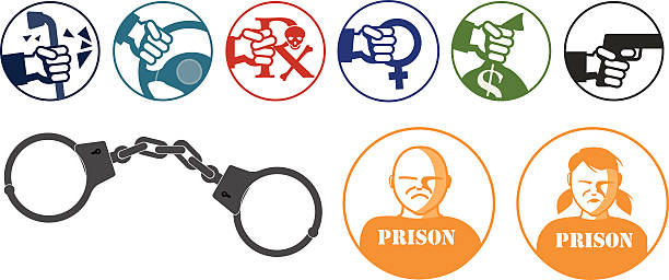 Crime icons The following is a set of icons of various crimes including vandalism, car theft, illegal drugs, sexual crimes, stealing and a fire arm.  There is also a set of handcuff and icons of a male and female prisoner wearing orange prison jumpsuits. vandalism stock illustrations