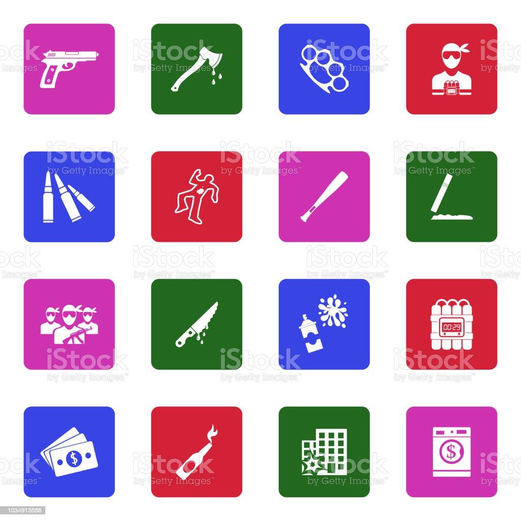 Crime Icons. White Flat Design In Square. Vector Illustration. vector art illustration