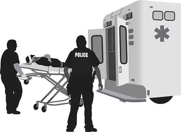 ilustraciones, imágenes clip art, dibujos animados e iconos de stock de delincuencia impuesto lesiones - técnico en urgencias médicas