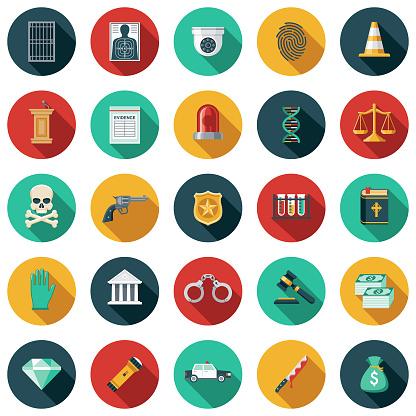 Crime & Punishment Flat Design Icon Set