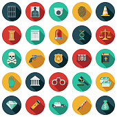 A set of flat design styled law, crime and punishment icons with a long side shadow. Color swatches are global so it's easy to edit and change the colors.