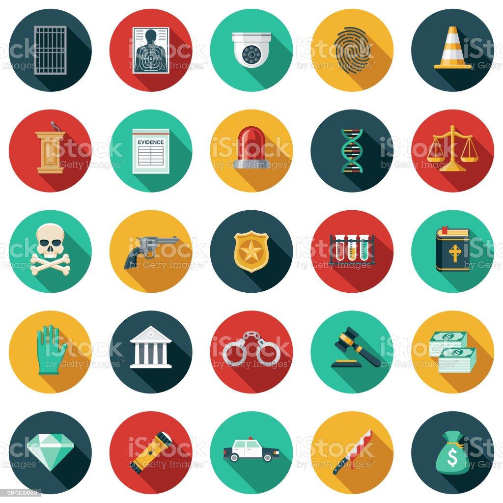 Crime e castigo Design plano conjunto de ícones - ilustração de arte em vetor