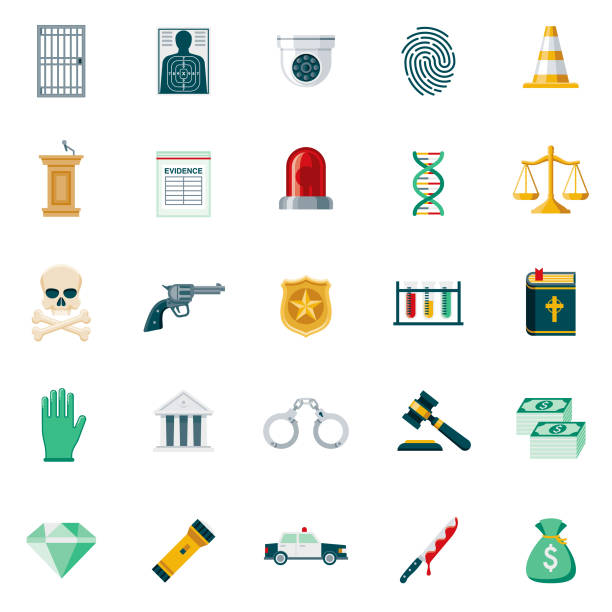 Crime & Punishment Flat Design Icon Set A set of 25 crime and punishment flat design icons on a transparent background. File is built in the CMYK color space for optimal printing. Color swatches are Global for quick and easy color changes. crime scene stock illustrations