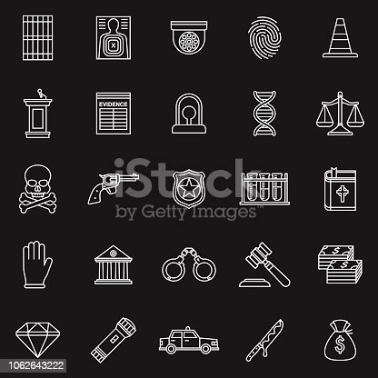 Evidence bag, police and investigate related icon editable storke outline.