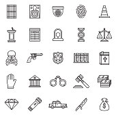 Crime & Punishment Thin Line Outline Icon Set