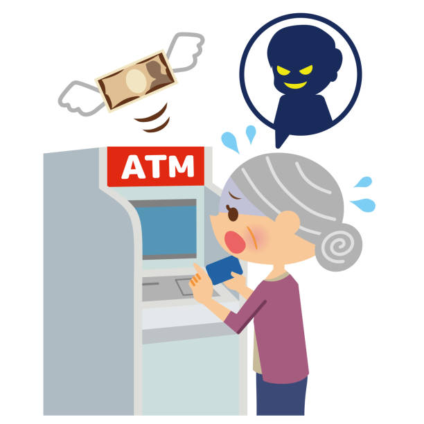 crime related to atm. - evil money stock illustrations, clip art, cartoons, & icons