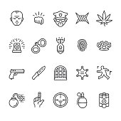 Serious crimes interface related vector icons.