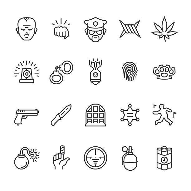 Crime related vector icons Serious crimes interface related vector icons. aggression stock illustrations