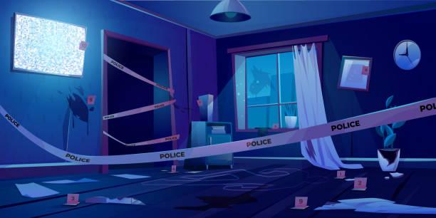 Crime scene at night, murder place in dark room vector art illustration