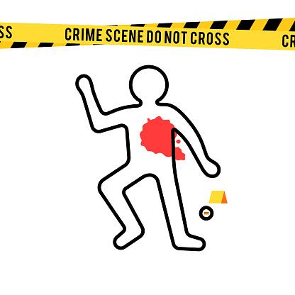 Crime scene, danger tapes and bullet