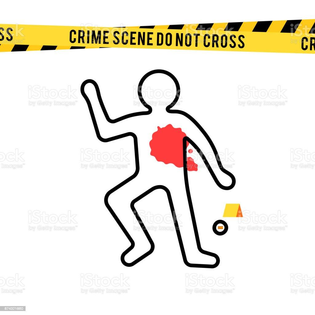 Crime scene, danger tapes and bullet vector art illustration