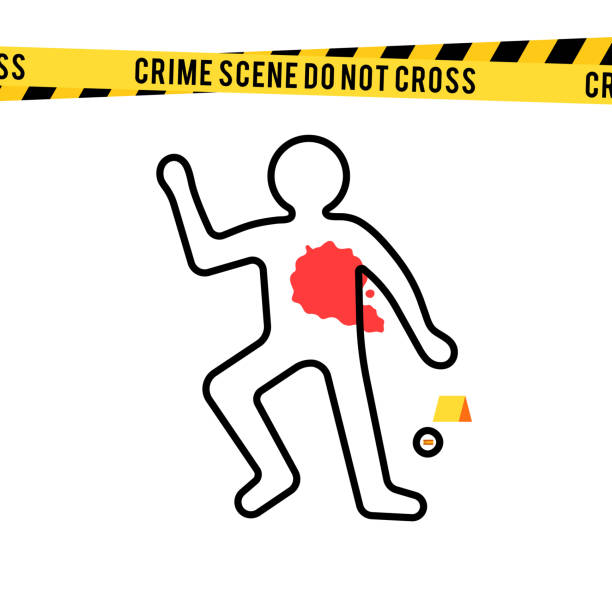 Crime scene, danger tapes and bullet Crime scene, danger tapes and bullet. Dead body silhouette with blood spot. Vector illustration in flat style isolated on white background crime scene stock illustrations