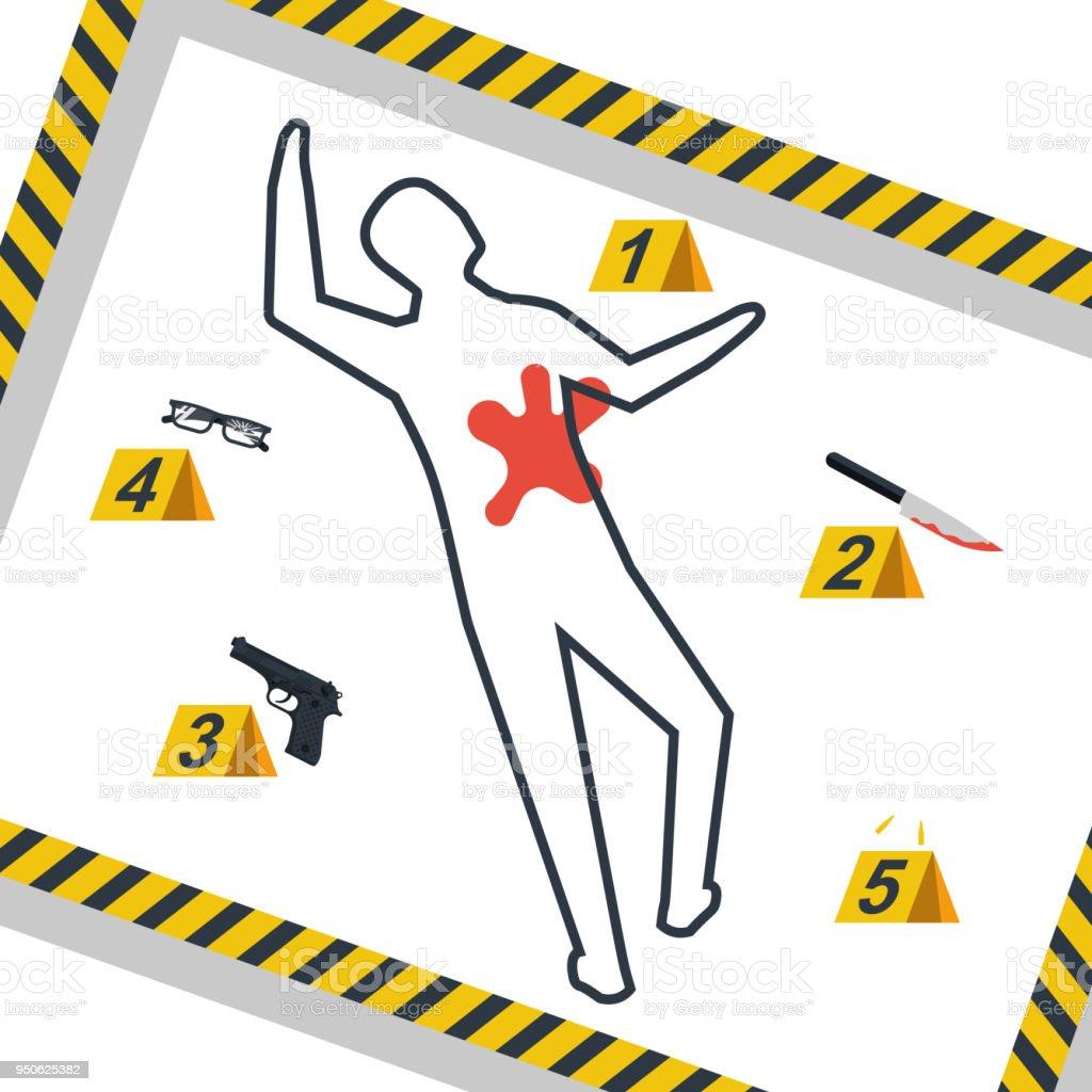 royalty free murder scene clip art vector images illustrations rh istockphoto com crime scene cartoon clipart crime scene body outline clipart