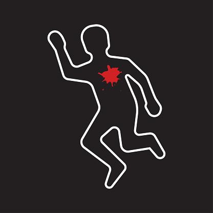 Crime scene. Dead body silhouette icon.