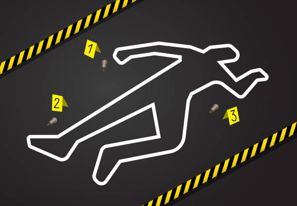 Crime scene, do not cross police tape. Chalk outline from the murder Crime scene, do not cross police tape. Chalk outline from the murder scene, circled the body, and there are marks near the evidence of the gun shells. Place of murder crime scene stock illustrations