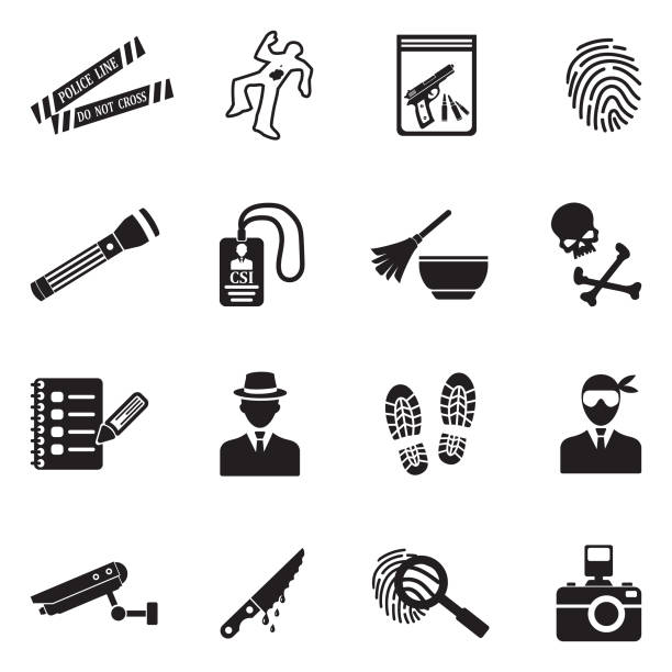 Crime Scene Icons. Black Flat Design. Vector Illustration. Detective, Police, Crime Scene, Evidence, Criminal crime scene stock illustrations