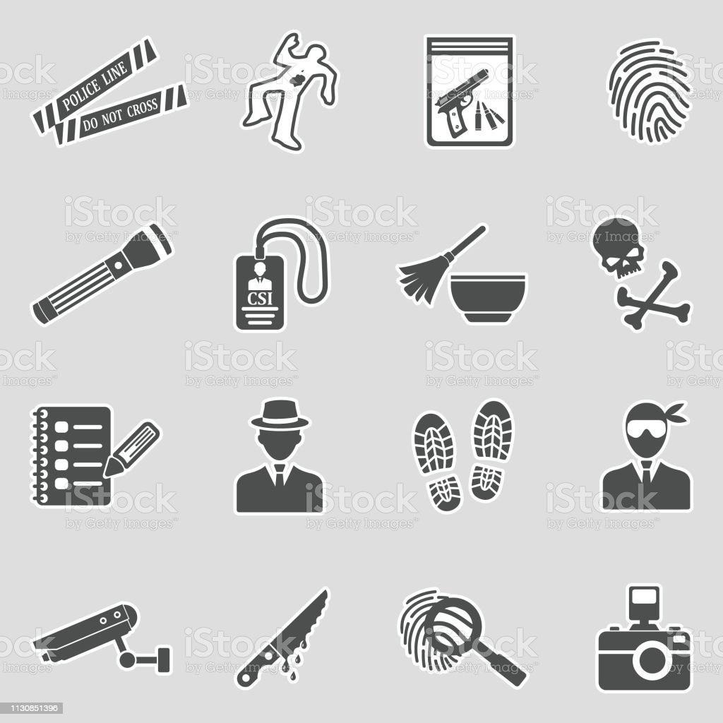 Crime Scene Icons Sticker Design Vector Illustration Stock Illustration Download Image Now Istock