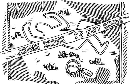 Crime Scene Murder Drawing