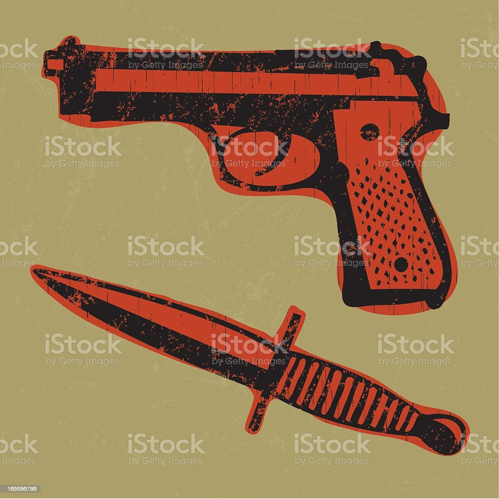 Crime Scene Weapons vector art illustration