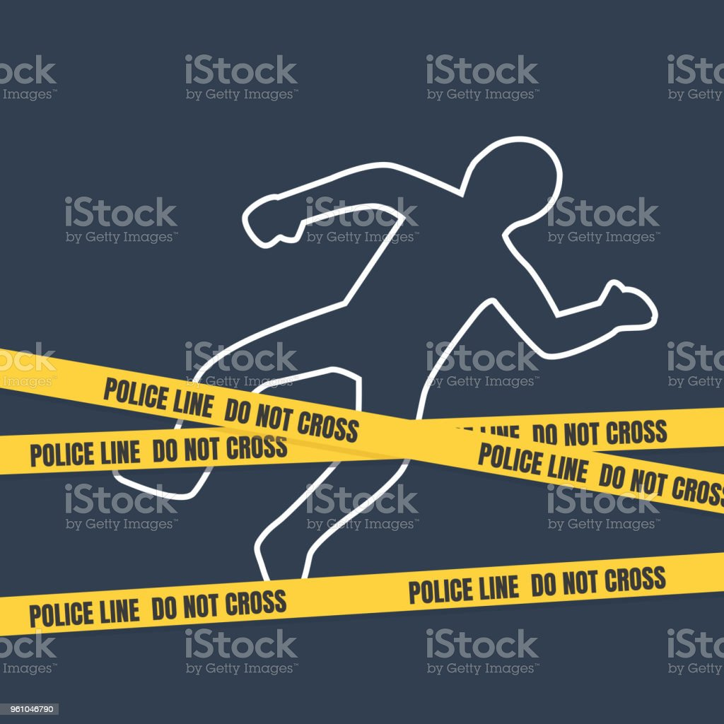 Crime scene with body outline. Police line do not cross tape vector art illustration