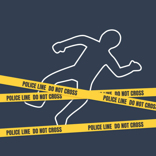 Crime scene with body outline. Police line do not cross tape Police line with body outline crime scene stock illustrations