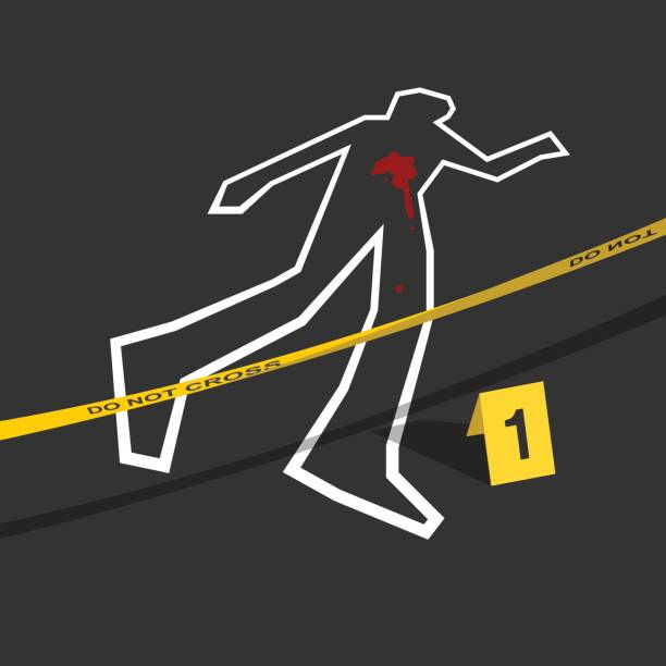 Crime scene with do not cross tape and number 1 mark Crime scene - Chalk outline drawing of a victim are
