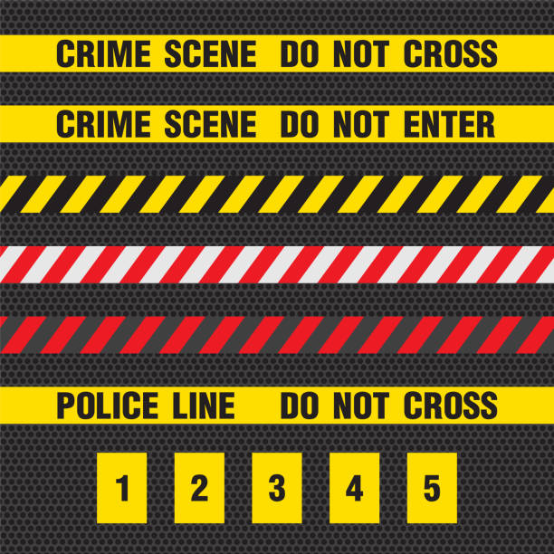 Crime scene yellow tape, police line Do Not Cross tape. Crime scene yellow tape, police line Do Not Cross tape. vector crime scene stock illustrations