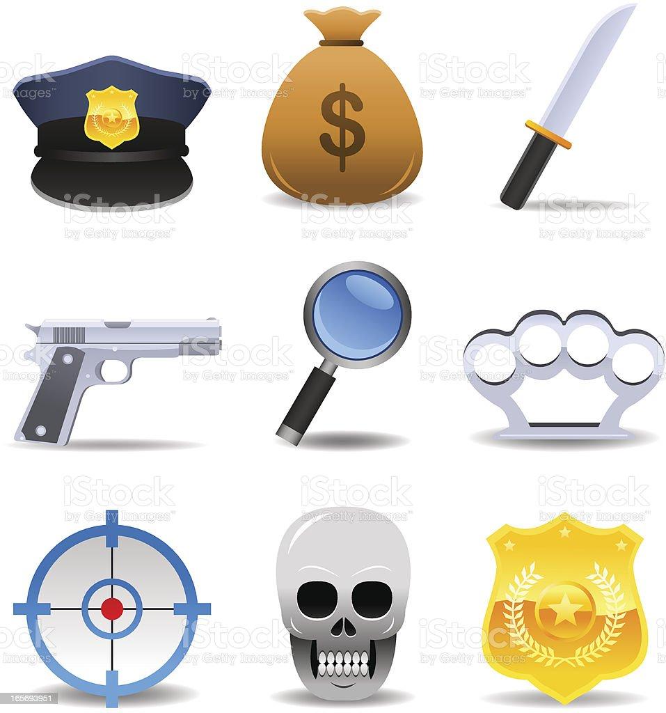 Crime Set vector art illustration