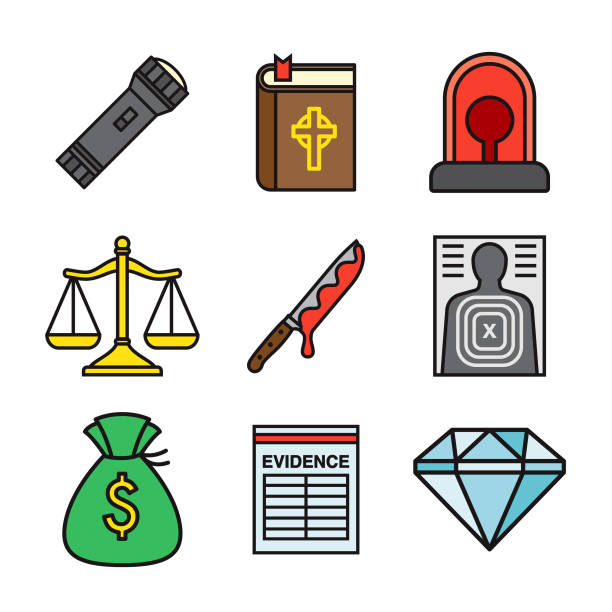 Crime Thin Line Icon Set vector art illustration