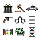 Crime Thin Line Icon Set