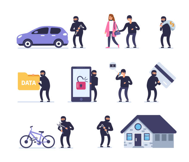 crime Different crimes concept. Flat style vector illustration isolated on white background. vandalism stock illustrations