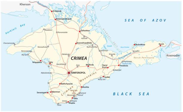 クリミア道路と主要都市のベクトル地図 - クラスノダール市点のイラスト素材/クリップアート素材/マンガ素材/アイコン素材
