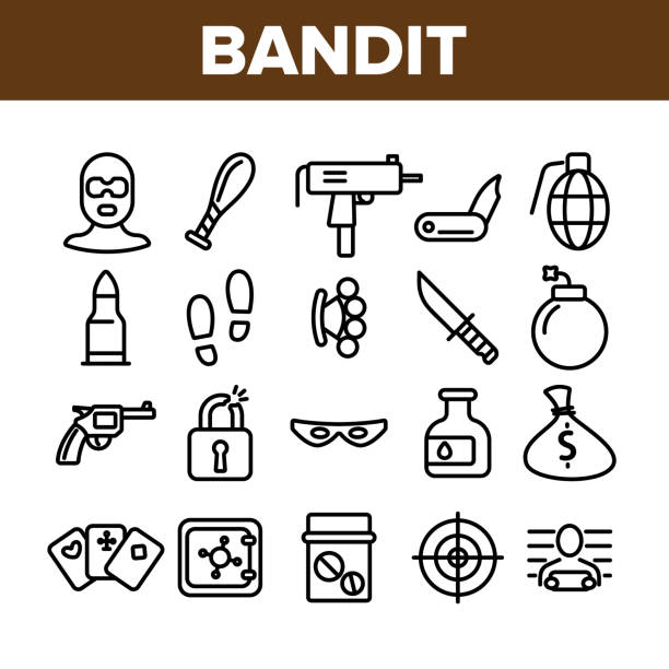 Criminal Acts, Bandit Thin Line Icons Set Criminal Acts, Bandit Thin Line Icons Set. Bandit Crimes Linear Illustrations Collection. Theft, Abuse, Murder, Burglary Contour Symbols. Terrorism, Gambling, Smuggling Crimes Outline Drawings smuggling stock illustrations