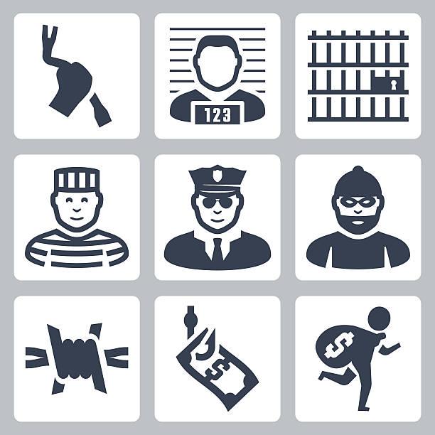 Criminal and prison vector icons set Criminal and prison vector icons set mug shot stock illustrations
