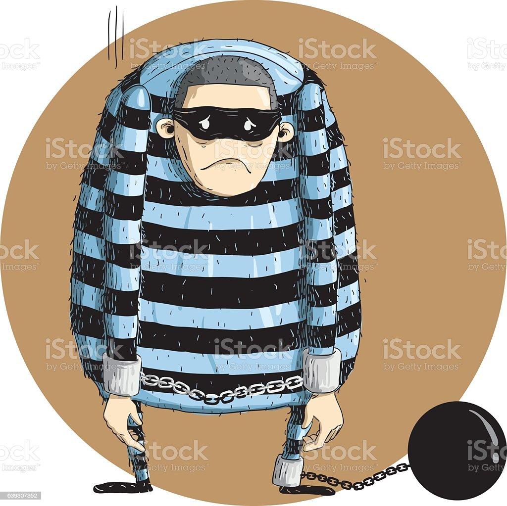 criminal arrested 2 vector art illustration