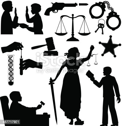 Criminal Justice Silhouettes including bailiff swearing in witness, lady Justice with sword and scales standing on book of laws, lawyer with paper, handcuffs and keys, DNA testing, judge with gavel, sheriffs badge,gun and bullet, etc.