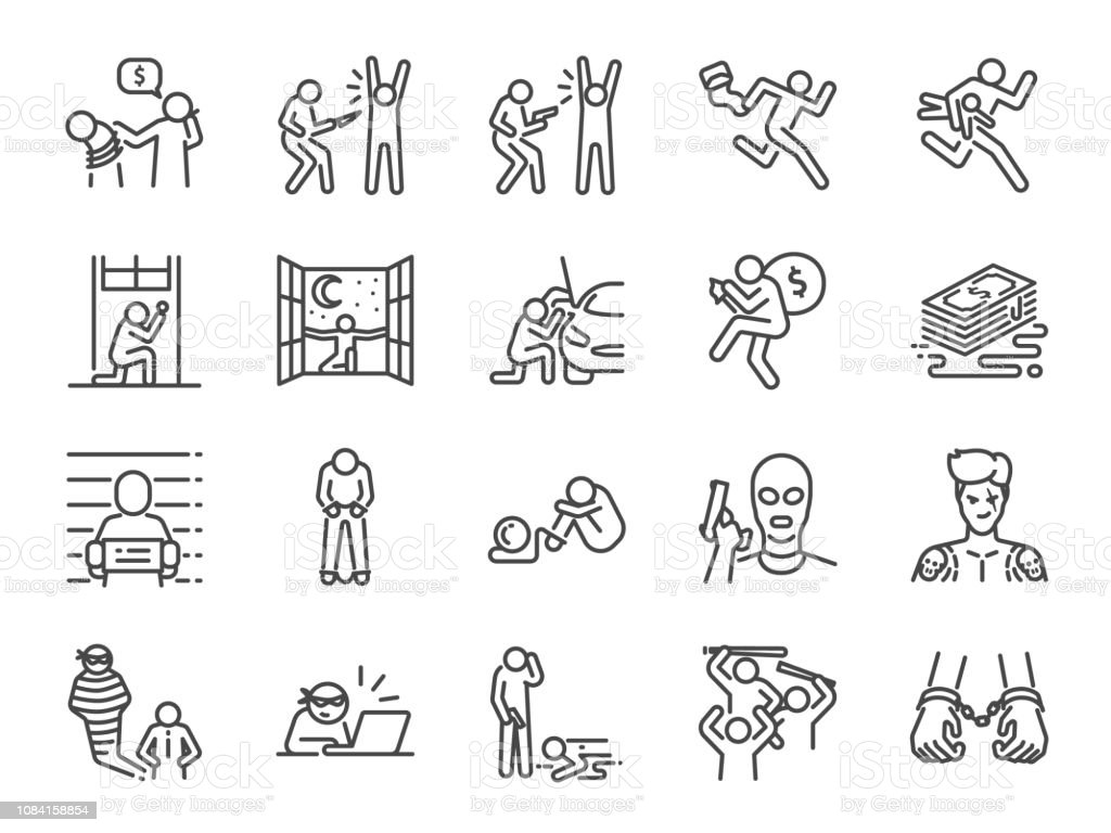 Criminal line icon set. Included the icons as outlaw, crime, homicide, arrest, prisoner and more. Criminal line icon set. Included the icons as outlaw, crime, homicide, arrest, prisoner and more. Adult stock vector