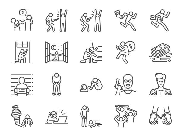 Criminal line icon set. Included the icons as outlaw, crime, homicide, arrest, prisoner and more. Criminal line icon set. Included the icons as outlaw, crime, homicide, arrest, prisoner and more. bribing stock illustrations
