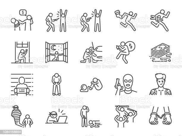 Criminal Line Icon Set Included The Icons As Outlaw Crime Homicide Arrest Prisoner And More Stock Illustration - Download Image Now