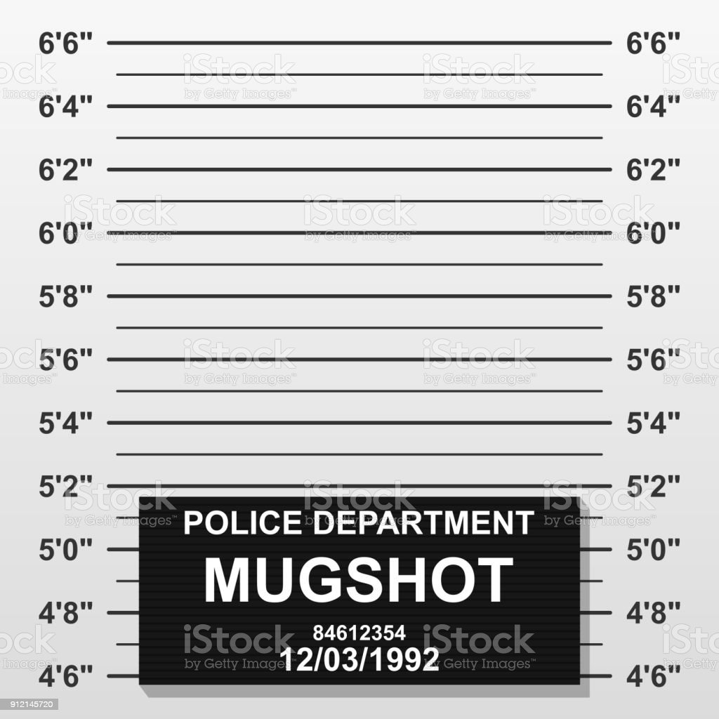 Criminal mug shot line. Police mugshot add a photo. Blank criminal police lineup with centimeter scale for photograph vector art illustration