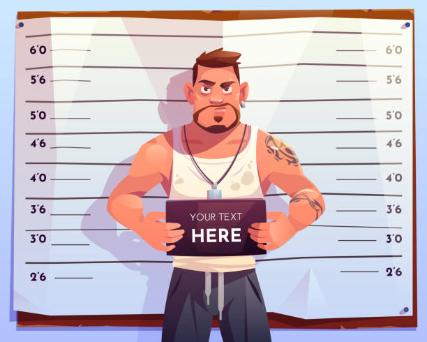 illustrations, cliparts, dessins animés et icônes de vue avant criminelle de mugshot sur l'échelle de mesure - secret agent house