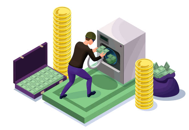 Criminal washing banknotes in machine, money laundering icon with bandit, financial fraud concept, isometric 3d vector illustration vector art illustration