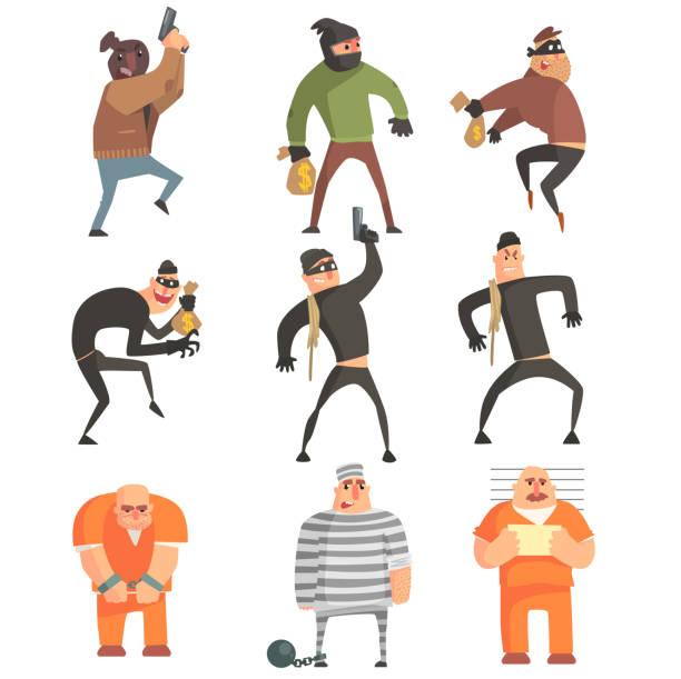 criminals and convicts funny characters set - geldstrafe stock-grafiken, -clipart, -cartoons und -symbole