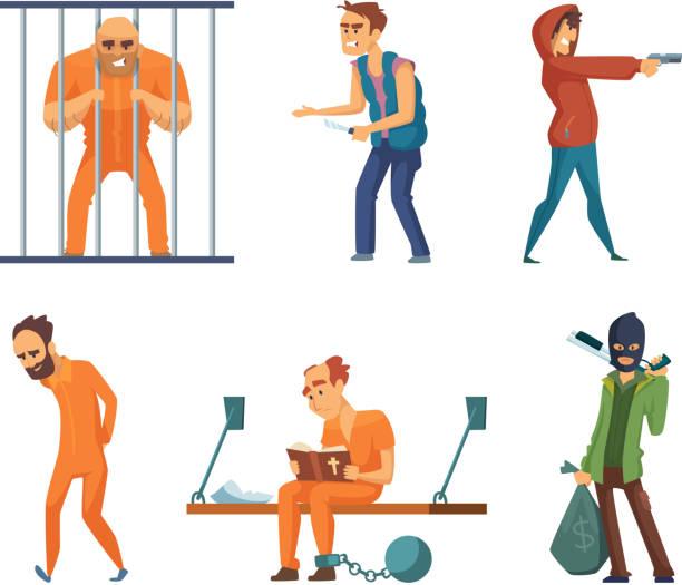 verbrecher und gefangene. satz von zeichen im cartoon-stil - geldstrafe stock-grafiken, -clipart, -cartoons und -symbole