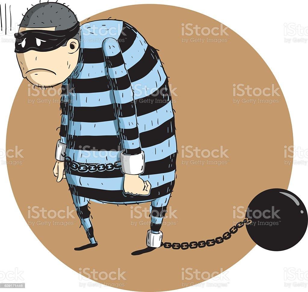 criminals arrested vector art illustration