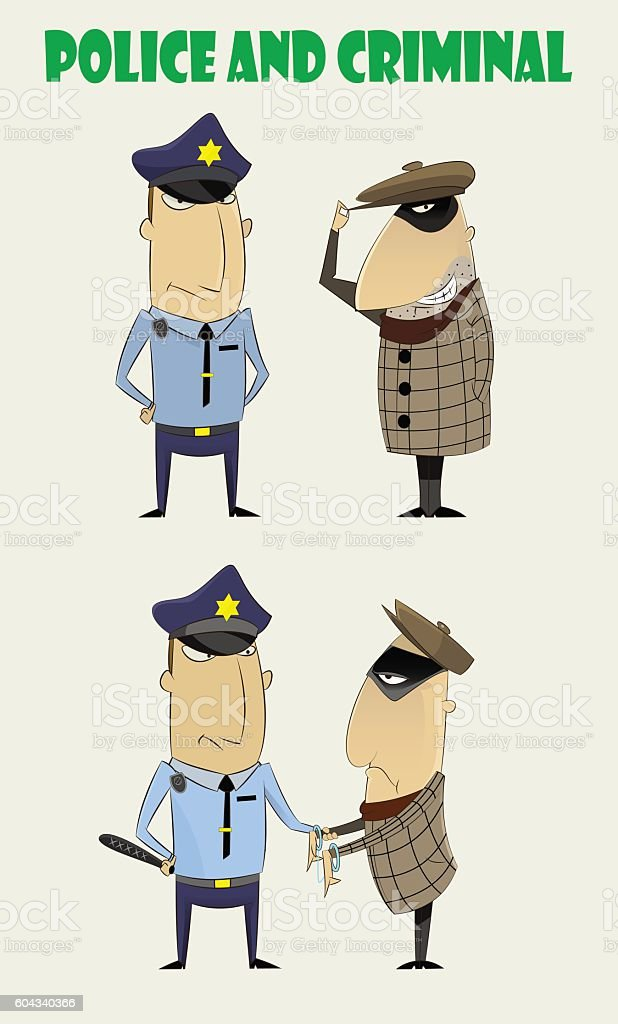 criminals caught by the police vector art illustration