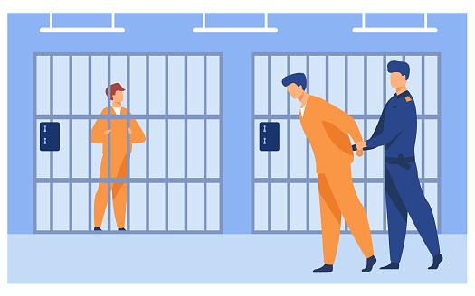Criminals in jail concept