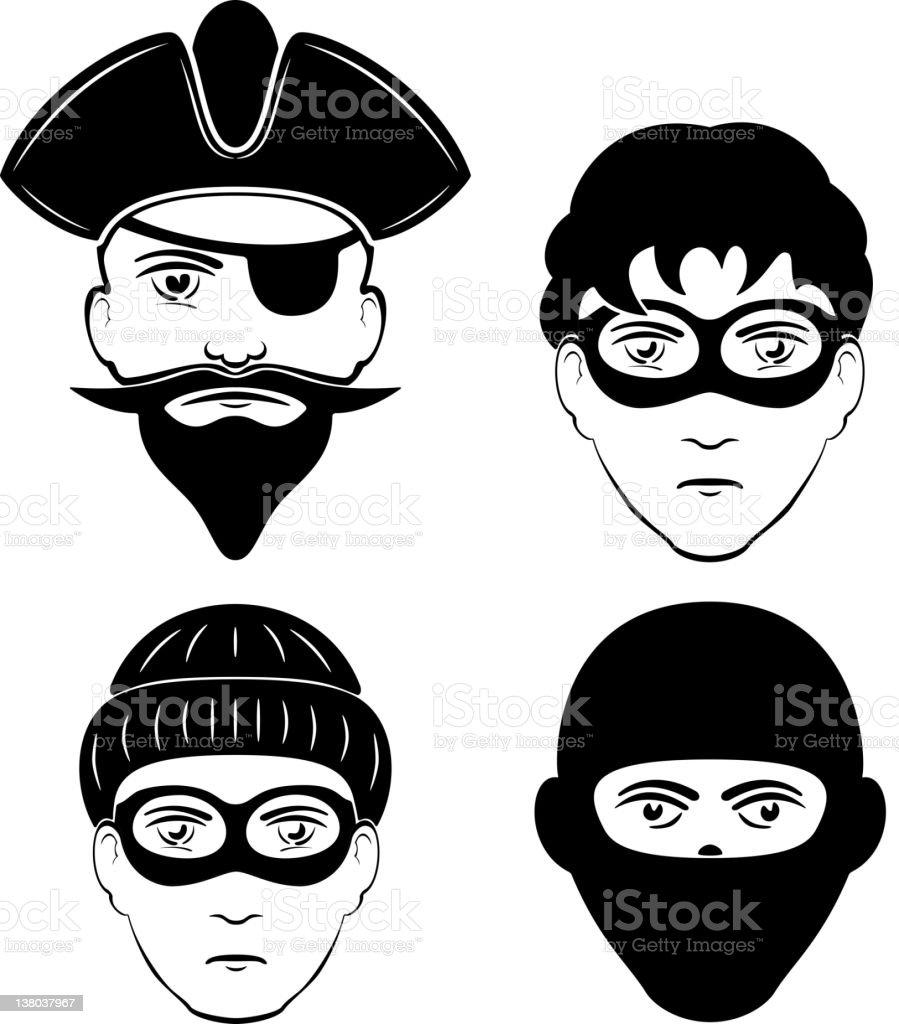 Criminals vector art illustration