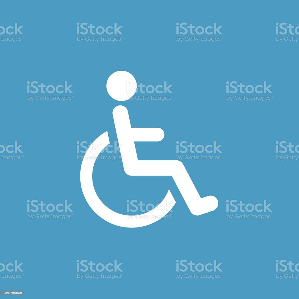 cripple icon, white on the blue background vector art illustration